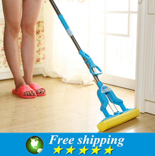 High Quality cleaning tools telescopic folding type Mop with microfiber head for housekeeper cleaning home floor,Free shipping.(China)