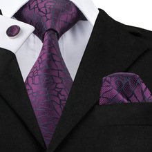 SN-1004 Black Purples Novelty Tie Hanky Cufflinks Sets Men's 100% Silk Ties for men Formal Wedding Party Groom
