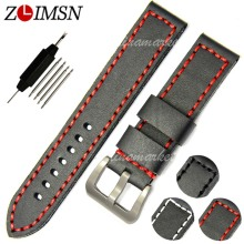 ZLIMSN Fashion Thick Black+Red Line Leather Watchbands Watch Band Strap Belt Bracelet Band Sweatband Wrist Men Women  20-24mm