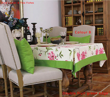 Free shipping High Quality Green Table Cloth Flower Tablecloths Cotton Tablecloth Home Textile Beautiful Cover Cloth