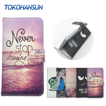For BlackBerry DTEK60 Case Skin Luxury Flip Wallet Cover Pouch PU Leather Cartoon Painting Cases TOKOHANSUN Brand