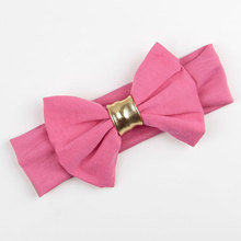 12pcs Golden Leather Tied Large Bow Headband Cotton Headband Black Red Purple Gray Green Yellow Pink