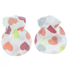 1 Pair Cartoon Anti-grasping Gloves For Newborn Protection Face Baby Mitten Cute Unisex Girls Boys Striped Floral Flower love