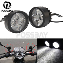 1 Pair 4 LED Scooter LightMotorcycle Headlight Headlamp Waterproof Fog Lamp Moto 15W Fit for Harley Honda Suzuki Yamaha Kawasaki