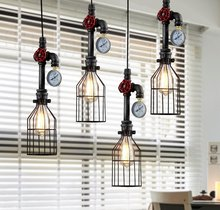 Rustic Wrought Iron Industrial Vintage Style Loft Iron Pipe Pendants Light Bulbs LED E27(China)
