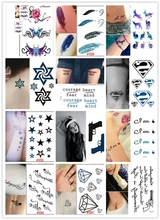 New Black White Stars Design Waterproof Temporary Tattoo Stickers Woman Sexy Fake Tattoos Sticker For Women Body Art