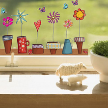 New Cute Flower Wall Sticker Kitchen Window Sticker Butterfies Wall Stickers Home Decor Bathroom Vinyl Kids Rooms Decor(China)