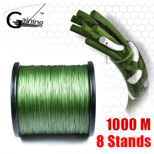 8 Strands Braided Fishing Line 1000m MOSS GREEN Super Strong Japan Multifilament PE Extreme Braided Line Fishing Cord(China)