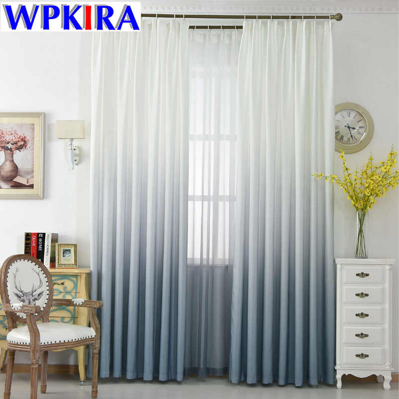 White And Grey Curtains Living Room Gradient Semi-Blackout Cloth Drapes For Bedroom Tulle Curtain Blue Wedding Decor WP185-30