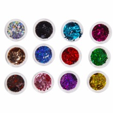 12 PCS/Set Mix Color Acrylic Nail Sticker Wheel DIY Design Nail Sequins Rhinestone 3D Manicure Tips Stickers Decals Decorations