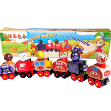 Baby Toys Anpanman Set Magnetic Van For Carrying People Train Wooden Toys Magnetic Vehicle Blocks Kids Educational Gift(China)