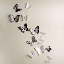 18Pcs 3D Butterflies Wall Stickers DIY Home Decor For Kids Rooms Christmas Party Decoration Decal Colorful Fridge Stickers