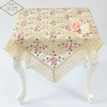 85cm Square Luxury Colorful Flower Embroidered Organza Lace Trim Peony Tablecloth