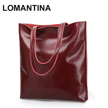 LOMANTINA Fashion Casual Shoulder Bags Handbag Women Famous Brand Oil Wax Leather Female Big Tote Bag Ladies Purses(China)