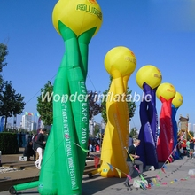 6m Outdoor Event Advertising Stand Balloon Inflatable pillar Inflatable Column With Led Light For Road Decoration