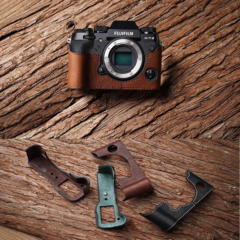 Handmade FUJIFILM X-A5 XA5Genuine Real Leather Half Camera Case Bag Cover for FUJIFILM XH1 X-H1 Bottom Open Tan color
