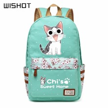 WISHOT chi's sweet home cheese cute lovely cat Canvas bag Flowers wave point Rucksacks backpack Girls School Bag travel bag(China)
