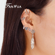 FANHUA 6 pcs/set Ethnic Bohemia Silver Color Jewelry Ear Clip Stud Earring Geometric Feather Leaf Owl Earrings For Women(China)