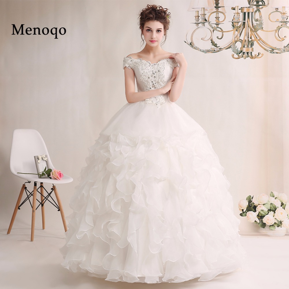 Robe de mariage New Long Real Model Wedding Dress 2019 V Neck Off shoulder Ball Gown Ruffle Organza Bridal Gowns