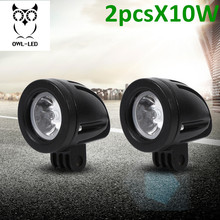 2Pcs 10W spot Mini LED Work Light 2 Inch Round LED Driving Lights Fog Lights for Motorcycle Motorbike Bike Dirt Bike Truck ATV(China)