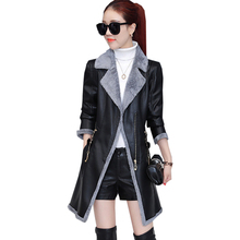 2017 Winter Faux Leather Jacket Women Slim Long Velvet Thick Warm Faux Leather Pu Jacket Women Elegant Fur Coat Women FP0162(China)