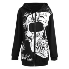 CharMma Autumn 2017 Plus Size 5XL Zipper Skull Halloween Print Hoodie Sweatshirt Women Long Sleeve Zip Up Hooded Pullover Black(China)