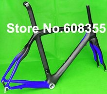 FR-308P1 Brand New Full Carbon 3K Matt Road Bike Bicycle Frame ( paint blue) Fork Seatpost Clamp , SIZE: 50cm, 54cm, 56cm(China)