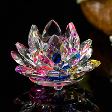 8 Colors Chosen 10cm Crystal Lotus Flower Figurine Feng Shui Buddhism Glass Miniature Ornaments Home Decoration Accessories