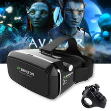 Original VR Shinecon Pro Goggles Virtual Reality Mobile VR 3D Glasses Headset BOX Cardboard Helmet for 4-6' Smartphone + Control(China)