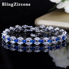 Buy BlingZircons Famous Brand Charming CZ Marquise Cut Royal Jewelry Blue Crystal Bangles Bracelets Women Prom Party Gift B007 for $6.87 in AliExpress store