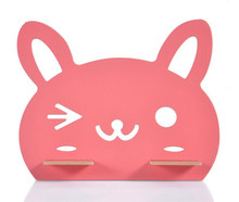Cartoon Wooden Cellphone Storage Racks Cute Rabbit Desk Stand Holder Books Magazine Notebook Storage Desk Shelf Holder