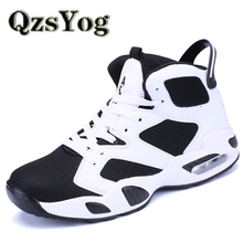 QzsYog Breathable Basketball Shoes For Men Women High Top Air Sports Cushion Sneakers Mesh Trainers Basket Femme Zapatillas Red(China)