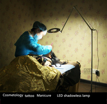 110-220V LED beauty ring Manicure lamp cold light shadowless lamp +magnifier surgical operating lamp LED Floor lamp(China)