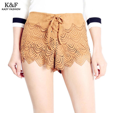 Women Casual Summer Bohemian High Waist Shorts 2017 Sexy Khaki Drawstring Shorts Streetwear Hollow Out Shorts(China)