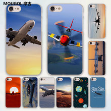MOUGOL Airplane At The Sunrise aircraft plane landing design hard clear Case Cover for Apple iPhone 7 6 6s Plus SE 4s 5 5s 5c(China)