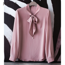 Bow Ribbon With Pearls 100% Heavy Sand Washed Silk Long Sleeve Blouse Women High End Womens Tops And Blouses Shirt Spring 2018(China)