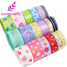 Lucia Crafts Grosgrain/Stin Cartton Ribbons DIY Bows Sewing Craft Party Decoration Mixed Style/Size Randomly 12y/lot D17020001