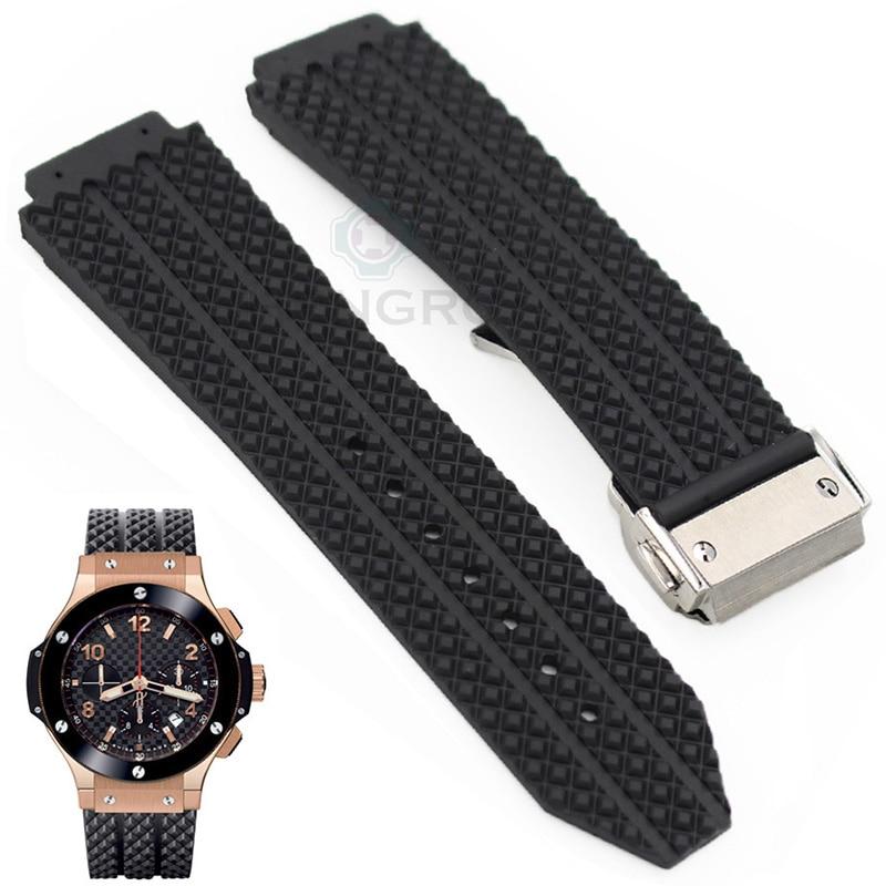 Rubber Watch Band 26/25mm X 19mm (Watch Lug) Men Black Waterproof Silicone Watchbands Metal Buckle Deployment Clasp Watch Strap<br><br>Aliexpress