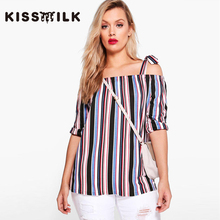 kiss milk plus size 2017 spring autumn western style fashion striped off the shoulder 3XL-7XL slash neck woman's Casual shirt