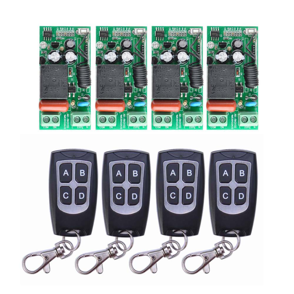 AC 220 V 1CH 10A Relay RF Wireless Remote Control Switch Wireless Light Switch ; 4PCS Receiver + 4PCS Transmitter<br>