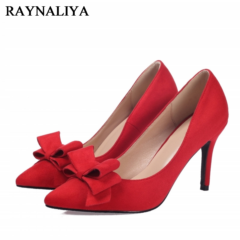 Womens Shoes 2017 New Fashion Kid Suede Leather Pumps Plus Size 34-42 Ladies Pointed Toe Sweet Bow High Heels Shoes BLY-A0003<br>