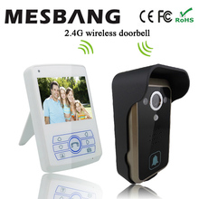 hot  new white color 2.4G waterproof  video door phone wireless no need cable 3.5 inch monitor  easy to install free shipping