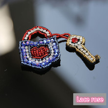 Key crystal rhinestone beaded sequins patches Clothing Collar Shoes Bags applique decoration patch sewing on accessories Apparel