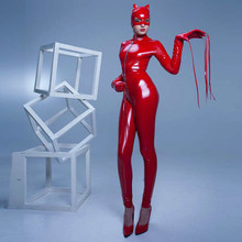 Buy Abbille 2017 Halloween Cosplay Women Red Black Latex Catsuit Sexy Stretch PVC Leather Front Crotch Zipper Jumpsuit Bodysuit