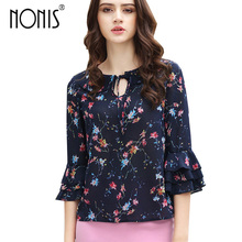 Nonis 2017 new style Floral Print Women's Butterfly Sleeved shirt Princess Fan Ruffled Chiffon Blouses Plus Size Blusas