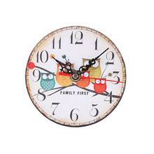 Round Imitation Wood Desk Clock Owl Pattern Home School Study Office Decor Needle Clock with Installation Hooks Diameter 11.5CM(China)