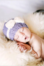 New 2016 Autumn Winter Newborn Baby Hat Boys Girls Crochet Bear Cute Bow Kids Caps Cotton Photography Props Beanie Hat(China)