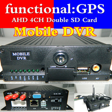 4 Road dual SD card  car video recorder  AHD high-definition GPS vehicle monitoring host  NTSC/PAL MDVR manufacturers