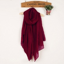 Winter and Autumn Scarf Women High Quality Shawls And Scarves Linen Cotton Scarf Warm Solid Color Wine Red Scarf Crinkle Hijab(China)