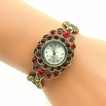 100pcs/lot unique color crystal luxury diamond beaded bracelet watch wrap quartz crystal watch for women wholesale wristwatch(China)